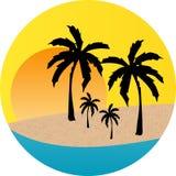 Escritura de la etiqueta de la playa de la puesta del sol Ilustración del Vector