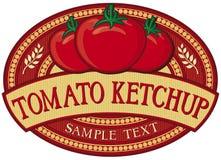 Escritura de la etiqueta de la salsa de tomate de tomate Foto de archivo libre de regalías