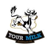 Escritura de la etiqueta de la vaca de leche Imagen de archivo