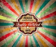 Escritura de la etiqueta de la vendimia de la calidad para el producto superior Fotografía de archivo libre de regalías