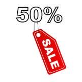 Escritura de la etiqueta de la venta con el descuento del 50% Foto de archivo libre de regalías