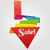 Escritura de la etiqueta de la venta de Origami Imágenes de archivo libres de regalías