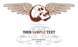 Escritura de la etiqueta de las alas del cráneo Foto de archivo