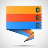 Escritura de la etiqueta de Origami (pasos de progresión) para su texto, vector Fotos de archivo