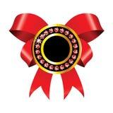 Escritura de la etiqueta de oro con la cinta roja Fotografía de archivo libre de regalías