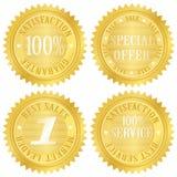 Escritura de la etiqueta de oro de la garantía Imagenes de archivo