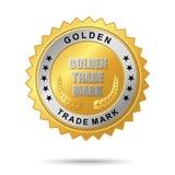 Escritura de la etiqueta de oro de la marca Stock de ilustración