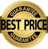 Escritura de la etiqueta de oro de la mejor garantía del precio Foto de archivo libre de regalías