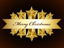 Escritura de la etiqueta de oro de las estrellas de la Feliz Navidad Fotografía de archivo