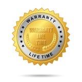 Escritura de la etiqueta de oro del tiempo de la vida de la garantía Stock de ilustración