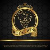 Escritura de la etiqueta de oro para el vino del embalaje Fotografía de archivo
