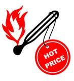 Escritura de la etiqueta de precio caliente Fotografía de archivo