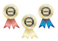 Escritura de la etiqueta de Satisfaction_guarantee, azul, de oro y rojo Imagen de archivo libre de regalías
