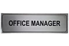 Escritura de la etiqueta del administrador de oficinas Imagen de archivo libre de regalías