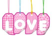 Escritura de la etiqueta del amor Fotografía de archivo libre de regalías
