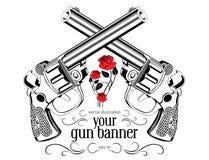Escritura de la etiqueta del arma de la vendimia Imagen de archivo