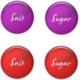 Escritura de la etiqueta del azúcar de la sal Imagenes de archivo