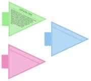Escritura de la etiqueta del boleto de la flecha - tres colores Foto de archivo