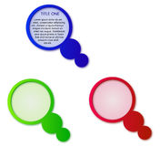 Escritura de la etiqueta del círculo con las burbujas - tres colores Fotos de archivo
