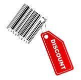 Escritura de la etiqueta del descuento con el código de barras Imágenes de archivo libres de regalías