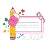 Escritura de la etiqueta del estudiante de la escuela Foto de archivo libre de regalías