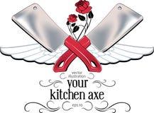 Escritura de la etiqueta del hacha de la cocina Foto de archivo libre de regalías