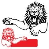 Escritura de la etiqueta del león Foto de archivo