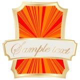 Escritura de la etiqueta del marco del oro Fotos de archivo libres de regalías