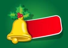 Escritura de la etiqueta del mensaje de Bell de la Navidad Imagenes de archivo