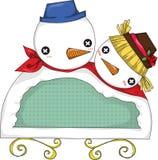 Escritura de la etiqueta del muñeco de nieve Fotografía de archivo libre de regalías