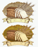 Escritura de la etiqueta del pan y del trigo del estilo del grabar en madera imagen de archivo libre de regalías