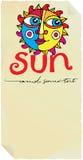 Escritura de la etiqueta del papel de Sun Imagen de archivo libre de regalías