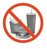 Escritura de la etiqueta del peligro de los alimentos de preparación rápida. Fotografía de archivo