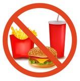 Escritura de la etiqueta del peligro de los alimentos de preparación rápida (coloreada). Fotografía de archivo