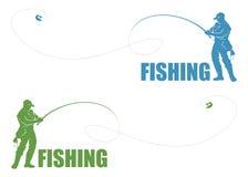 Escritura de la etiqueta del pescador stock de ilustración