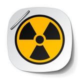 Escritura de la etiqueta del símbolo de la radiación Fotografía de archivo libre de regalías