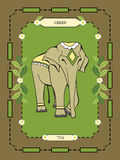 Escritura de la etiqueta del té verde Fotos de archivo libres de regalías