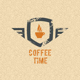 Escritura de la etiqueta del tiempo del café ilustración del vector