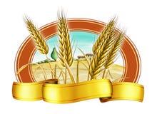 Escritura de la etiqueta del trigo ilustración del vector