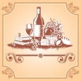 Escritura de la etiqueta del vino Fotografía de archivo libre de regalías