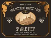 Escritura de la etiqueta del vino Imagen de archivo libre de regalías