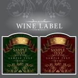 Escritura de la etiqueta del vino con una cinta del oro Fotografía de archivo