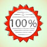 Escritura de la etiqueta el 100 por ciento. Imagen de archivo libre de regalías