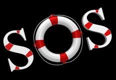 Escritura de la etiqueta el SOS Imagen de archivo