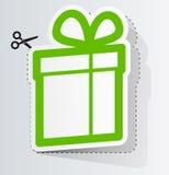 Escritura de la etiqueta en la forma de regalo Imágenes de archivo libres de regalías