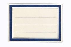 Escritura de la etiqueta en un marco azul y blanco Fotografía de archivo libre de regalías