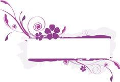 Escritura de la etiqueta floral de color de malva Fotos de archivo libres de regalías