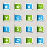 Escritura de la etiqueta - iconos de la bebida Imagenes de archivo