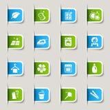 Escritura de la etiqueta - iconos de la limpieza Imagen de archivo