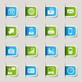 Escritura de la etiqueta - iconos de la oficina y del asunto Fotografía de archivo